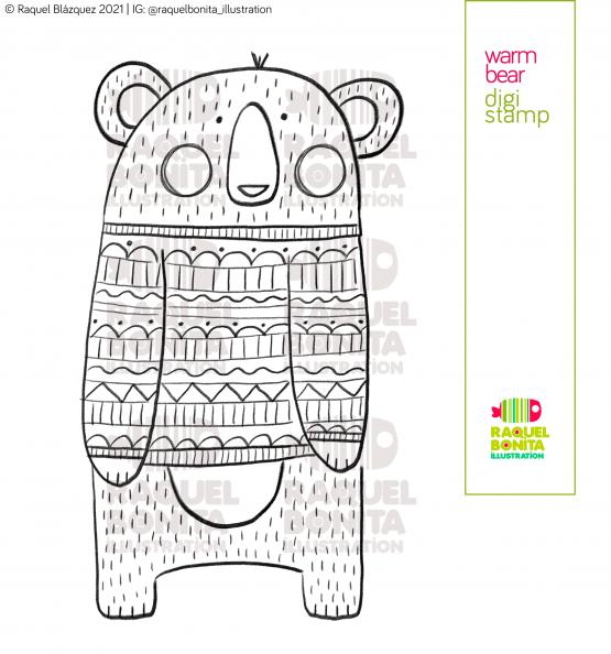 Warm bear digistamp